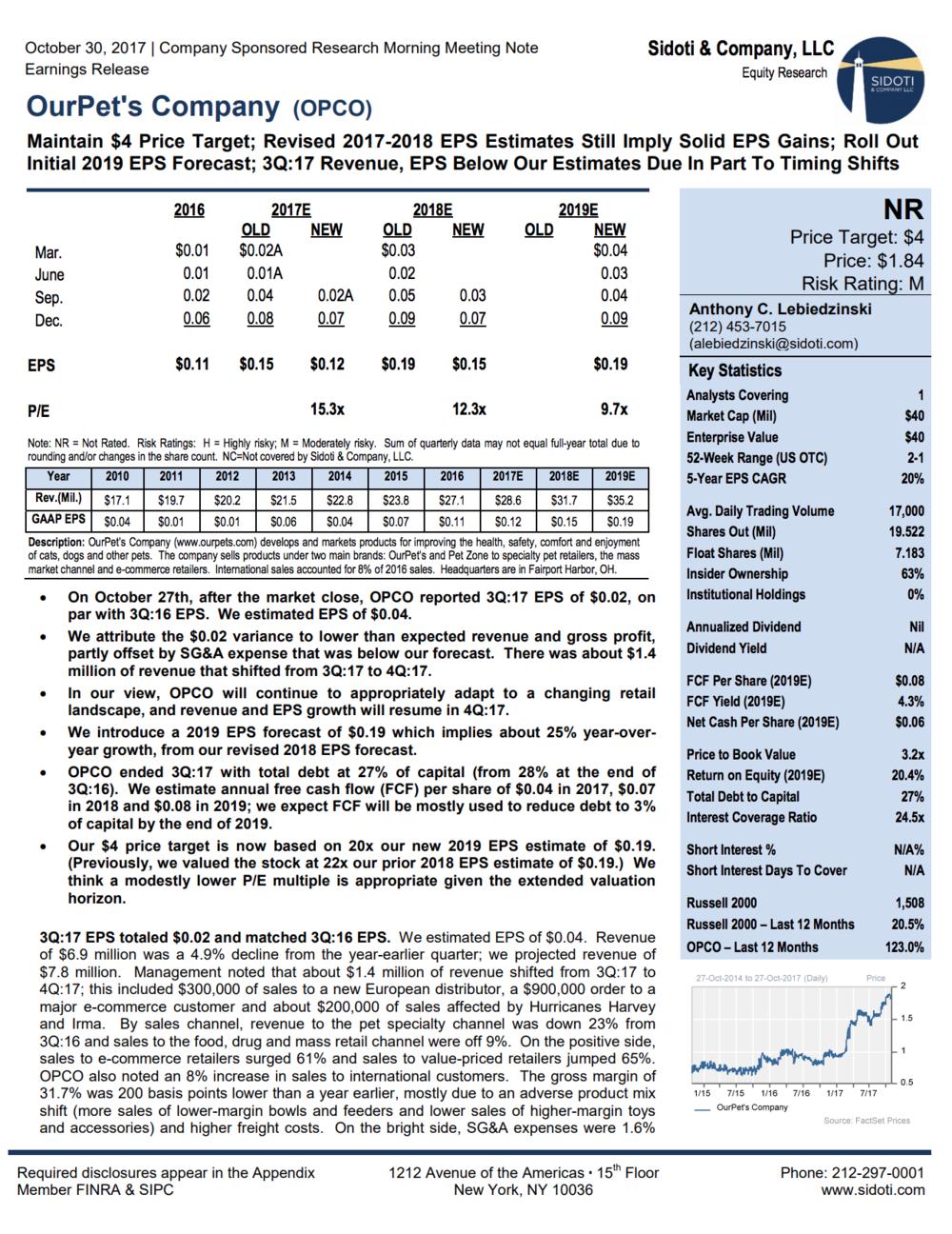 Earnings Report: Oct.30, 2017