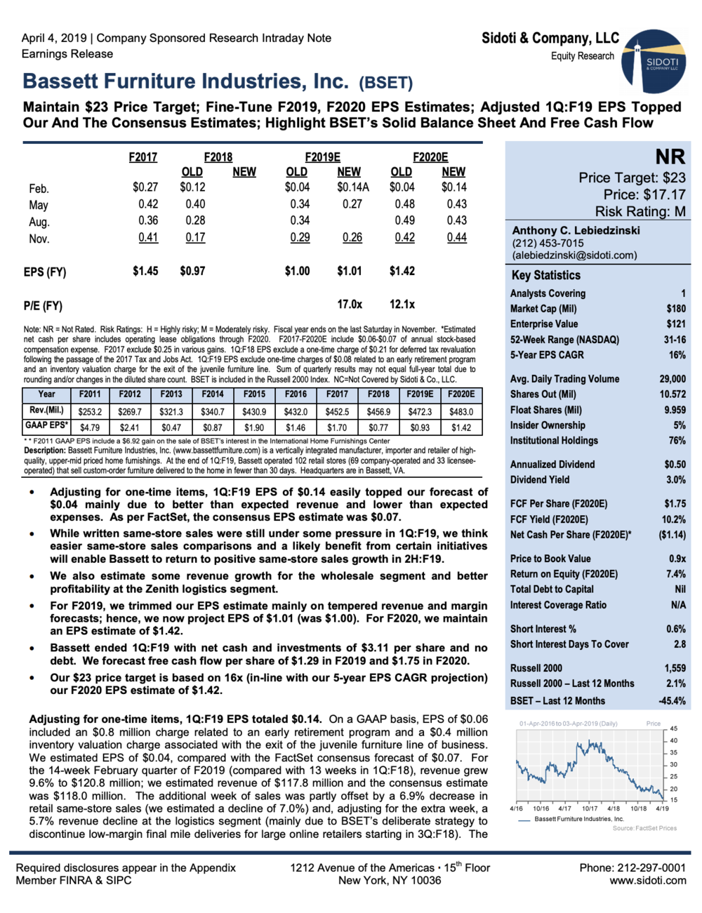 Earnings Release:  April  4, 2019