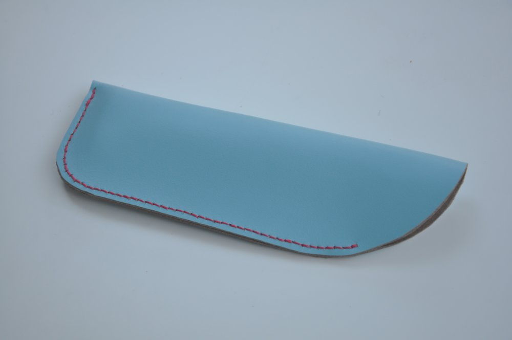 Sky Blue Glasses Case with Red Stitching, £10