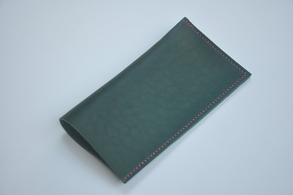 Bottle Green Glasses Case with Red Stitching, £10