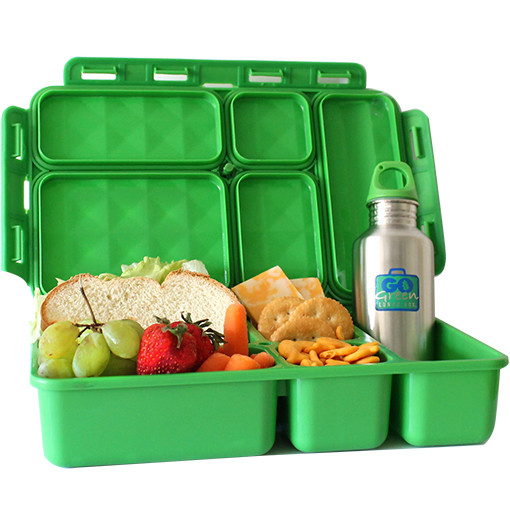 "Go Green    Large enough for big appetites, the Go Green has ""turn 'n lock"" technology to ensure that your food stays fresh and within its compartment. We carry the Go Green Food Box, its smaller companion the Break Box as well as Lunch Kits, which have the Food Box plus a cold pack and a stainless steel water bottle."