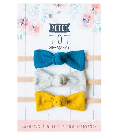 🍁  Petit Tot    Designed to be modern, light in weight and fashionable, this Quebec brand makes stretchy headbands and braided pacifier clips. Their headbands are made from soft nylon with a minimalist bow so as not to bother the child - encouraging them to actually keep it on their head!