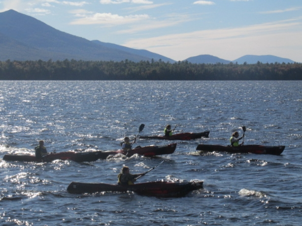 Kids paddling on Flagstaff Lake