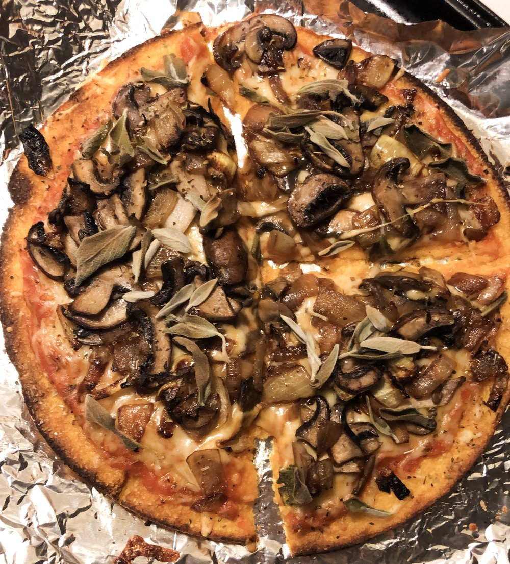 Homemade pizza using Butternut Squash Pizza Crust from Trader Joes