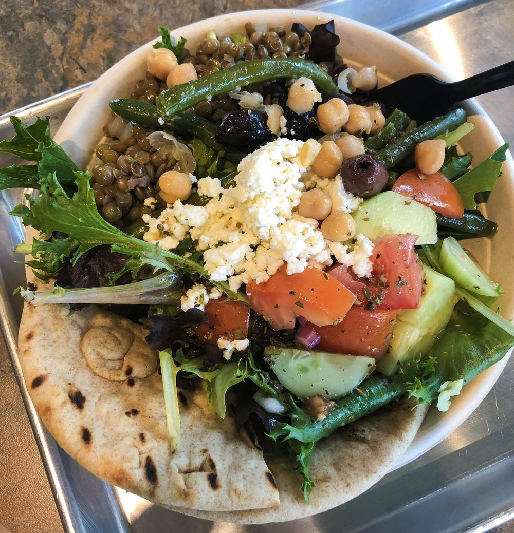 Salad bowl from Simply Greek in Raleigh, NC
