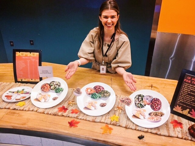 Examples of healthy plate ideas for Thanksgiving based off of myplate.