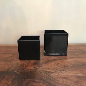(2) Black Square Vases | $3 each