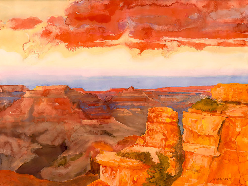 Grand Canyon   watercolor and gouache painting on Arches hot press paper, 12 x 16 ©1995.