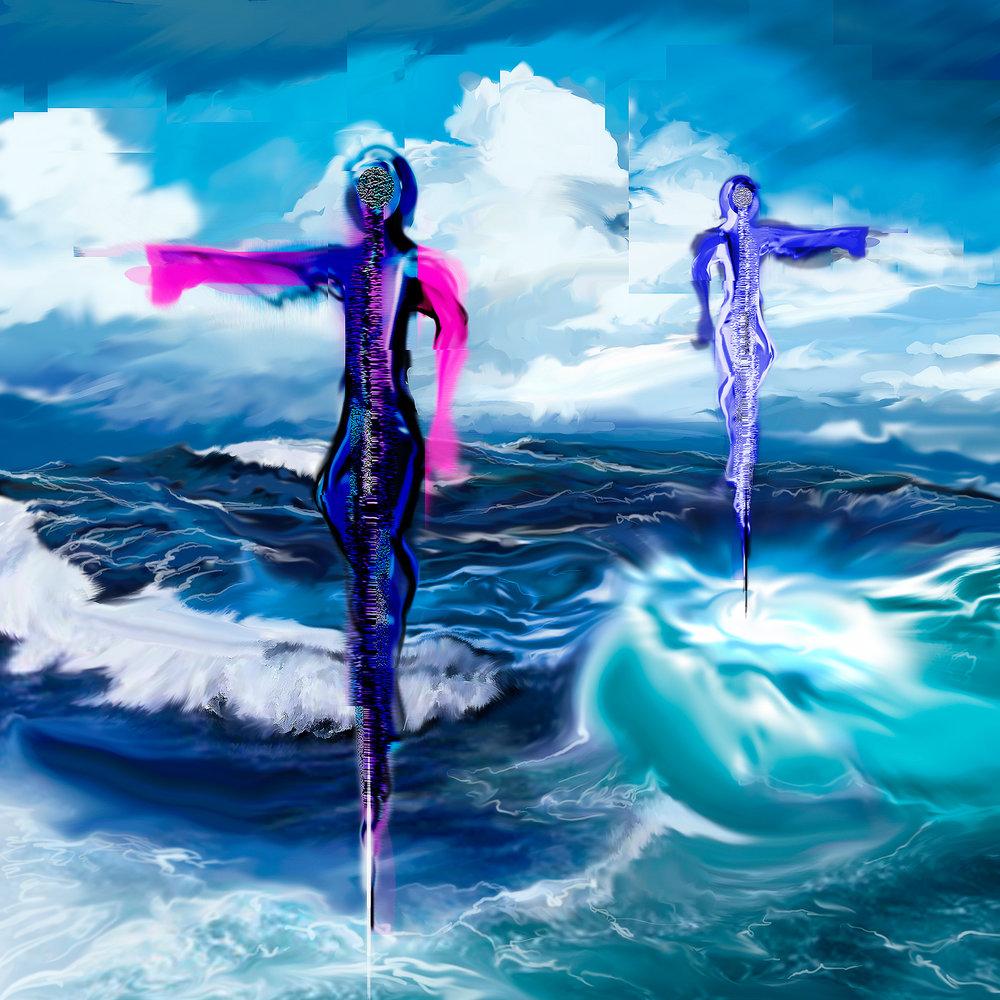 Ocean Dancers IV   digital painting, 5400 x 5400 and 14 x 14 ©2012.