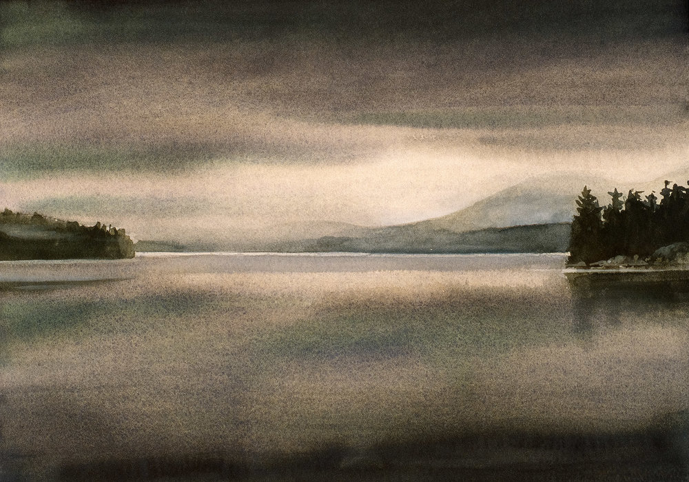 Foggy Lake   watercolor painting on Arches cold press paper, 10 x 14 ©1998