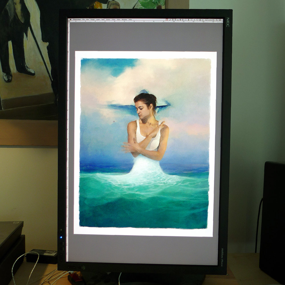 Guardian Spirit   shown as a digital image file in Adobe Photoshop® at the actual Giclée print size.