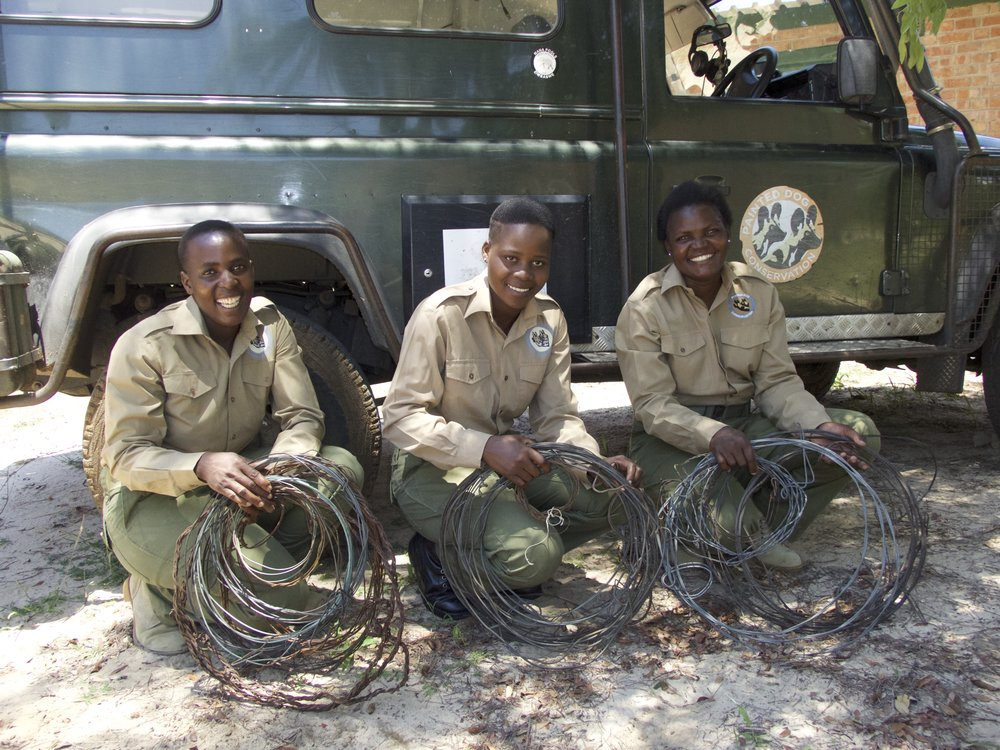 The first three female scouts of our Anti-Poaching Unit team. L to R:  Debra Maphosa  first volunteered with the Mabale Volunteer APU in 2014 then joined PDC in January 2017,  Belinda Ncube  joined PDC   in 2017 and  Simisiwe Ngwenya  also volunteered to undertake anti poaching work with the Mabale Volunteers in 2014 then joined PDC in 2017.