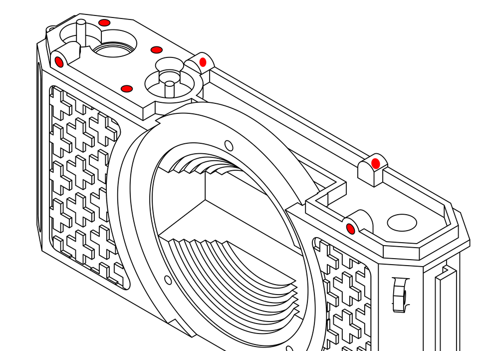 Step 1 : Heat-Set Inserts.  - Step 1 : Heat-Set Inserts. the camera uses two types of heat set inserts, M2 & M2.5. First start with the M2 inserts. the body has a total of 7 of them, all located on the top of the camera, three for the gear spacer and four for the top plate. The body also has two 2.5 inserts, both to hold the bottom plate. The main gear, sprocket gear 2 and rewind lever all also need M2.5 inserts.