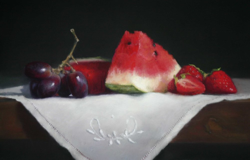 Red Fruits on Cloth - Pastel
