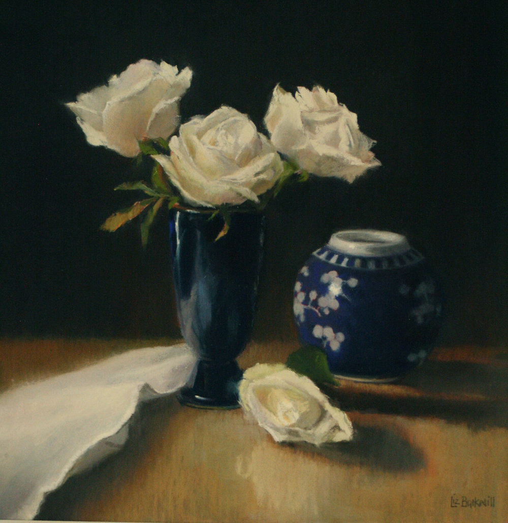 White Roses with Ginger Jar