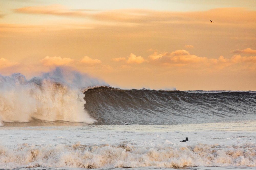 The sky got prettier as the sun went down. Scotty didn't exactly have time to admire it, right before this wave ploughed over him.