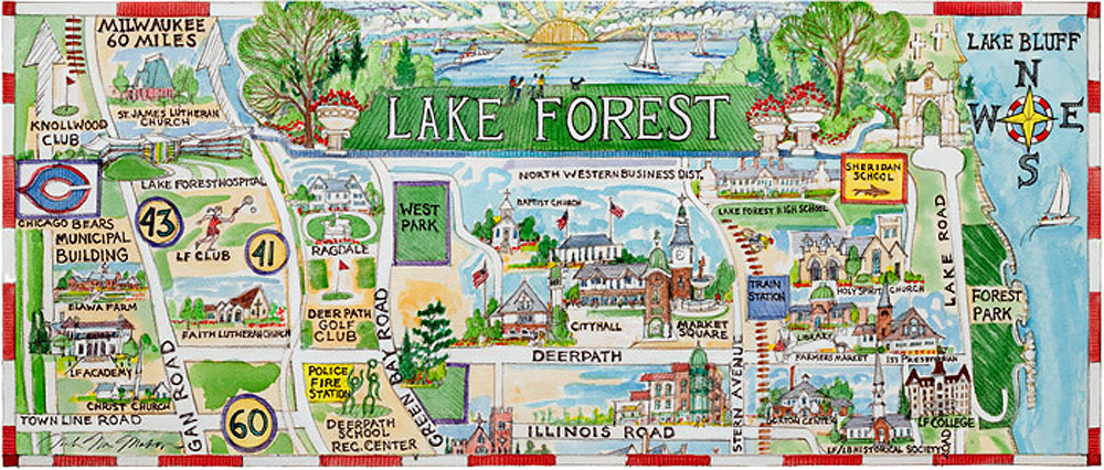 Lake Forest Map Mug   McMahon Gallery