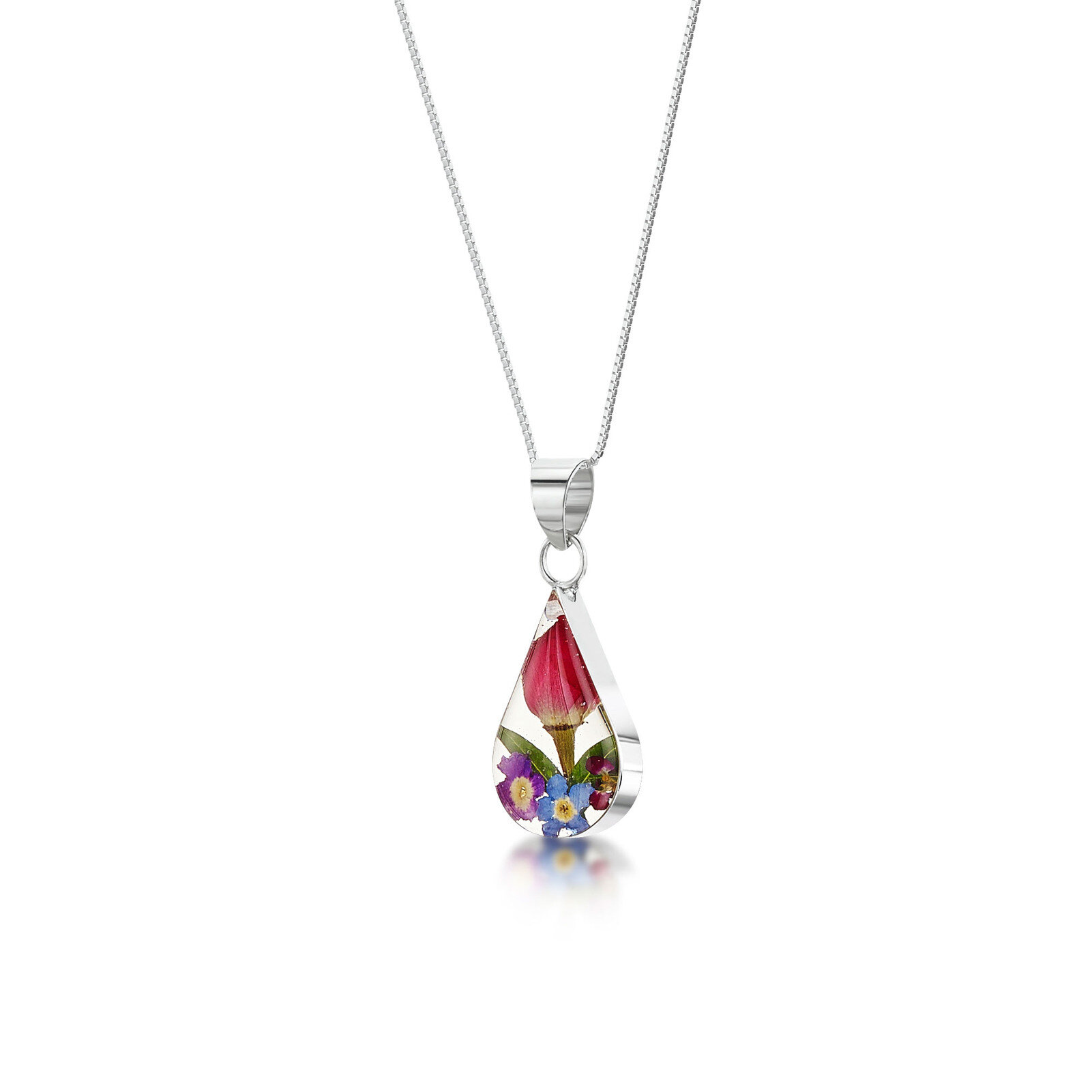 Sterling Silver Teardrop Necklace Mixed Flower Gifts And Gallery