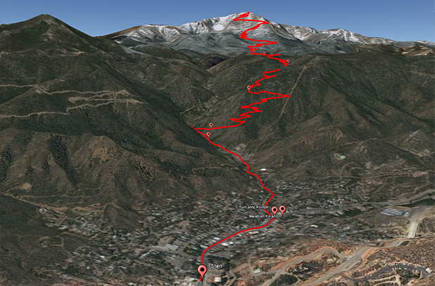 The Pikes Peak Ascent and Marathon course