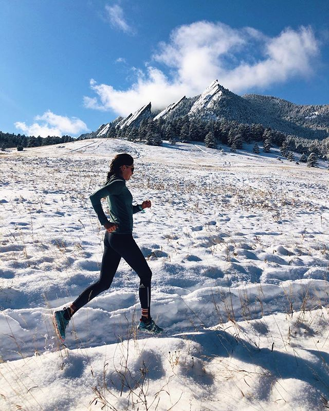 @aplevene displaying some pep in her step despite resisting the urge to go skiing this morning. #makingturns #flatirons