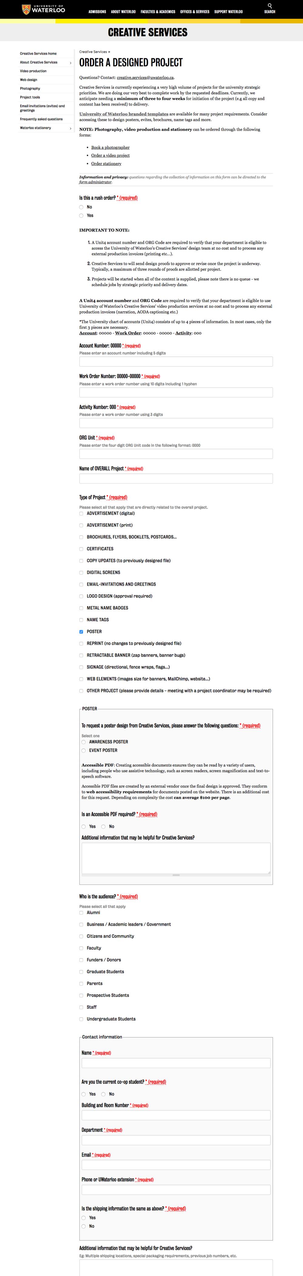 Order a Designed Project Webform