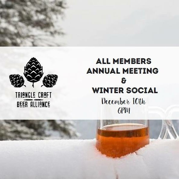 Want to learn about TCBA, hear about what we've accomplished in our first year, what's coming in 2019 or just mingle with the best beer minds of NC?  Then we will see you at our Annual Meeting next Monday (the 10th) at Bond Brothers! Bring a beer to share and come be merry with us! 🍻 #trianglebeer