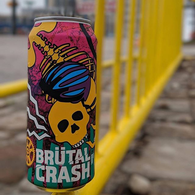 @crankarmbrew: TODAY 4PM BRÜTAL CRASH RELEASE  Brutal crashes happen from time to time, it's part of the fast paced cycling lifestyle. When you're lucky you just need a little time to heal and a beer to help you relax. Brütal Crash, Brüt IPA is just the beer for this situation. Brüt IPA as a style originated from San Francisco to emulate the dryness of a champagne. The grain bill is 2 row pale malt and flaked give the beer a light straw color. No bittering hops only during whirlpool and post fermentation. All of this brewing wizardry spells a bone dry, hoppy experience. For once you can say you enjoyed a Brütal Crash!