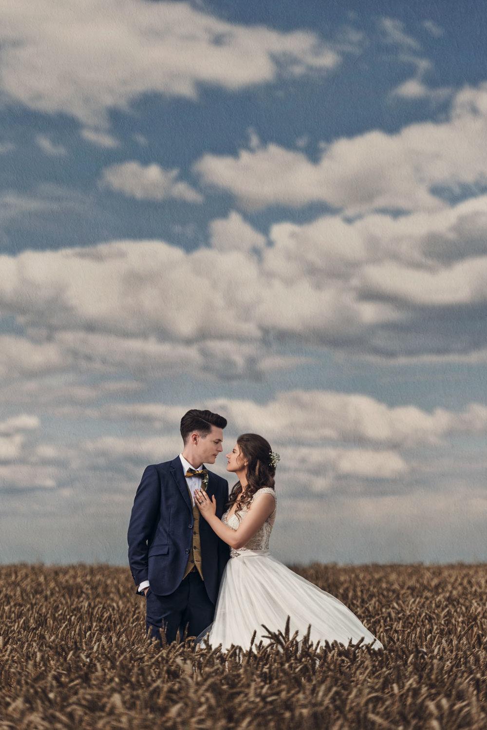 Couple pose at Blackwell Grange wedding venue