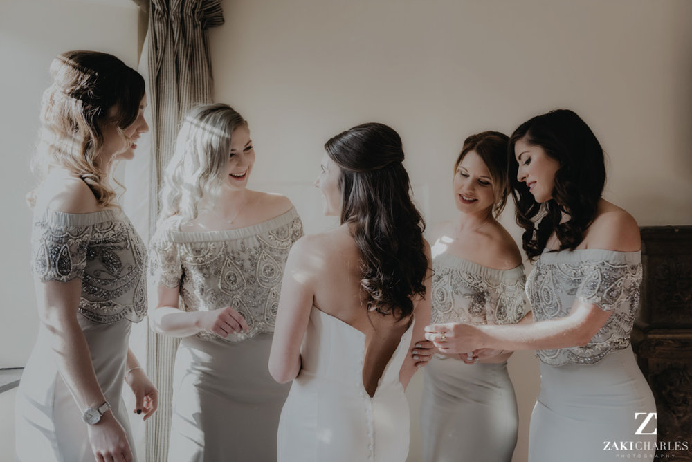 Bridesmaids giggling at The Bay Tree Hotel