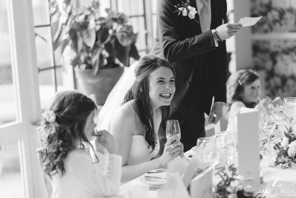 The Bay Tree Hotel Bride laughing at speaches