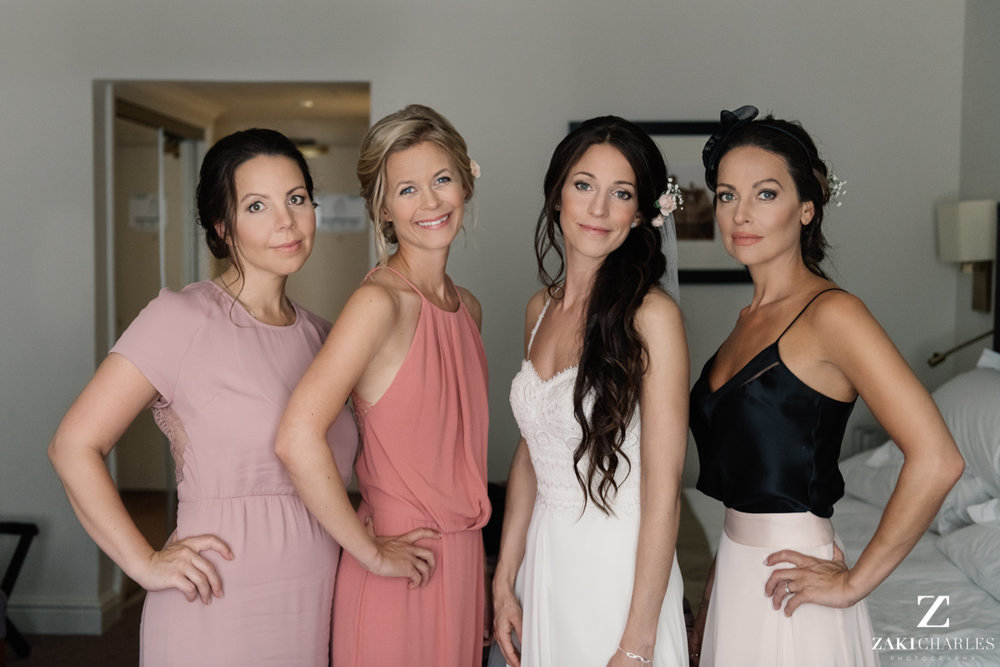Glamour portrait of bride with her bridesmaides