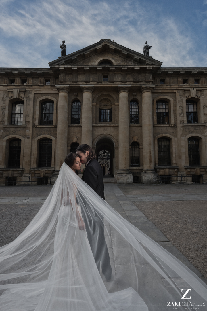 Bride and Groom portrait at The Bodleian Library