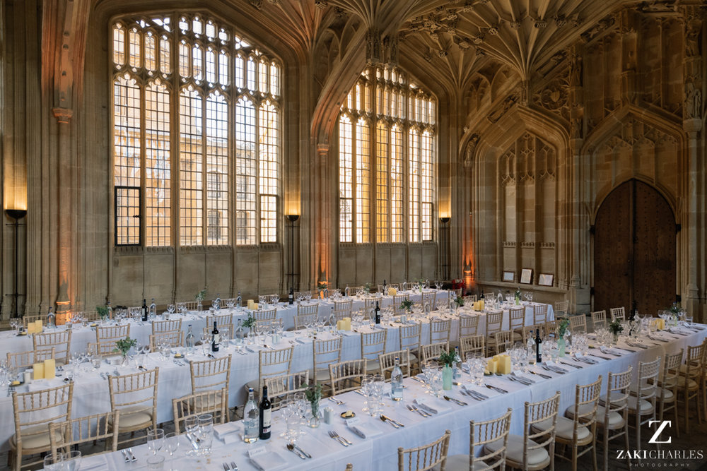 Table decorations at The Bodleian Library