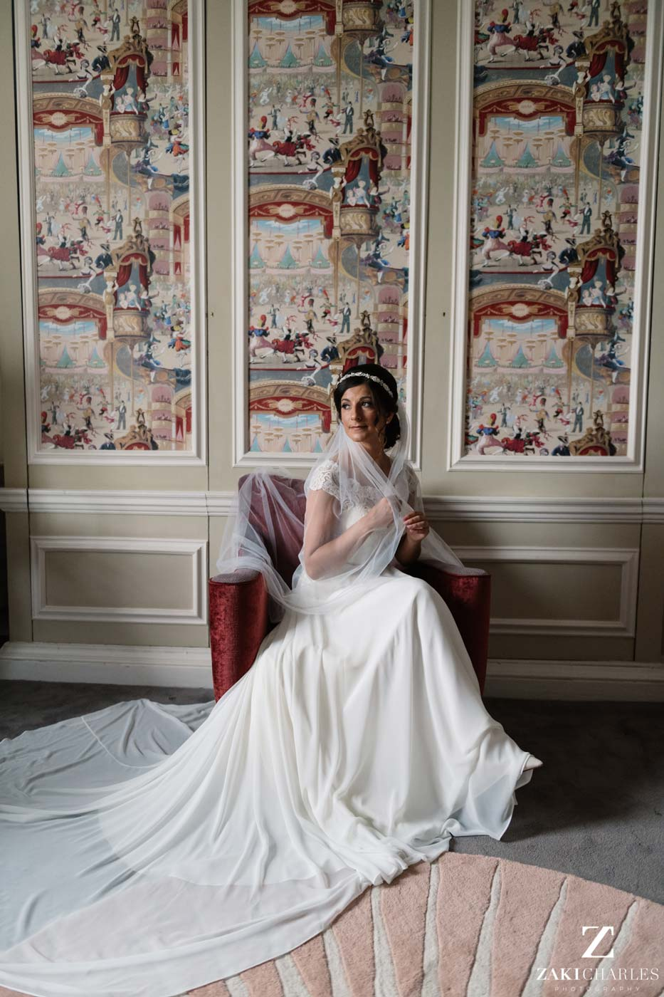 Natural light portrait of bride Edi at Hedsor House