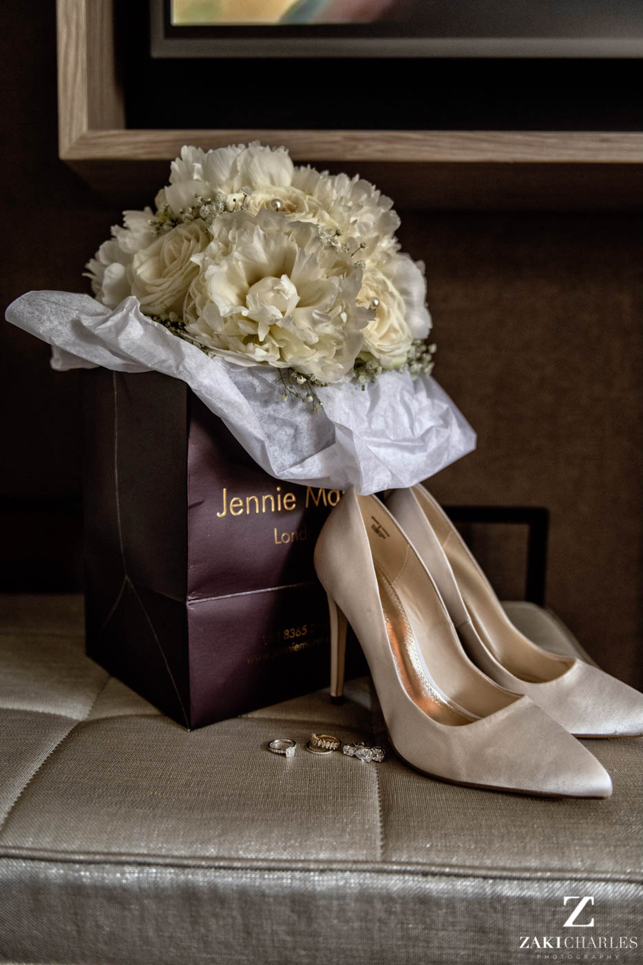 Details of the bride at Marriott Hotel Regents Park wedding venue