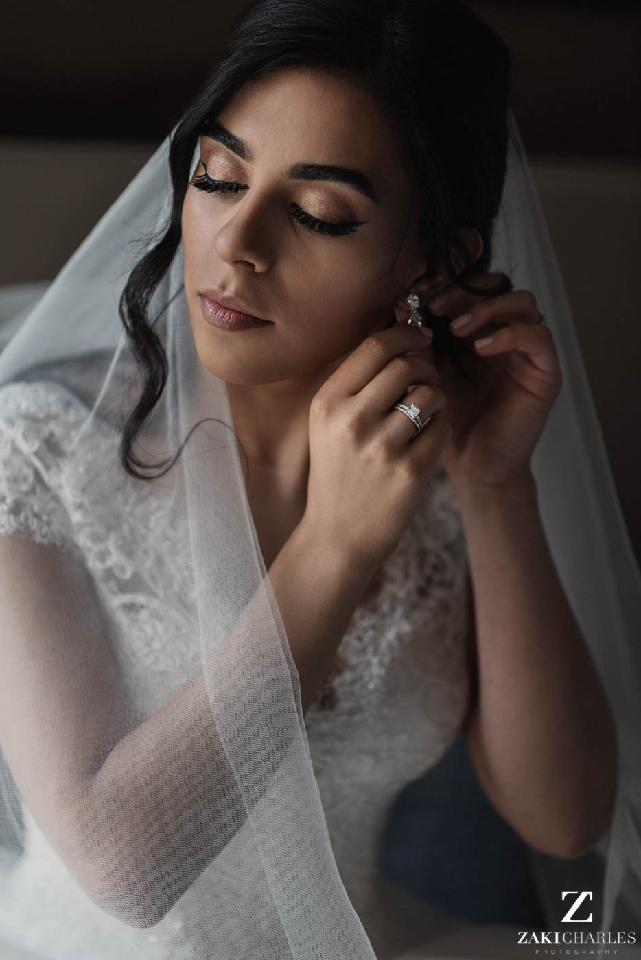 Natural light portrait of the bride at Marriott Hotel Regents Park 2
