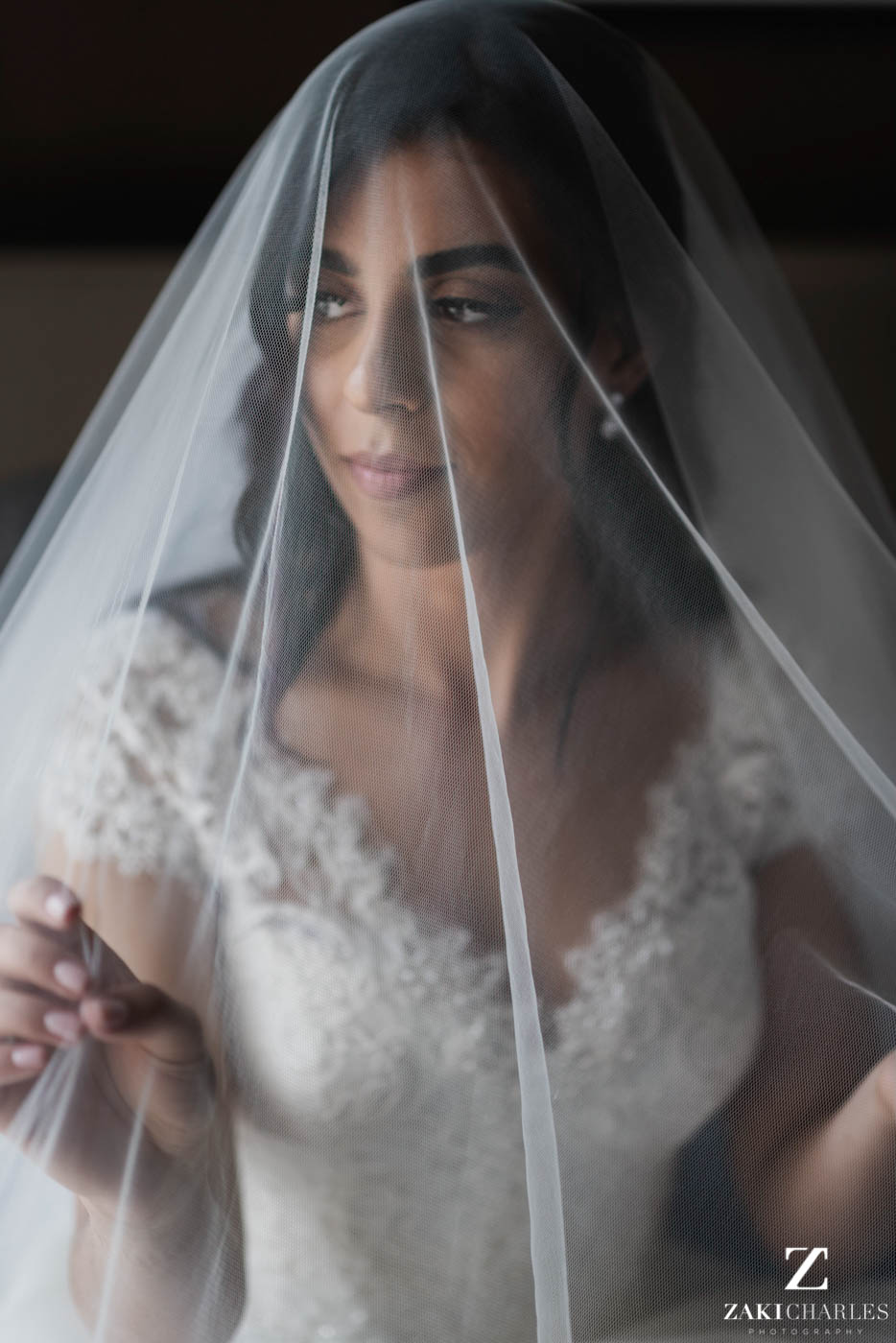 Natural light portrait of the bride at Marriott Hotel Regents Park 3