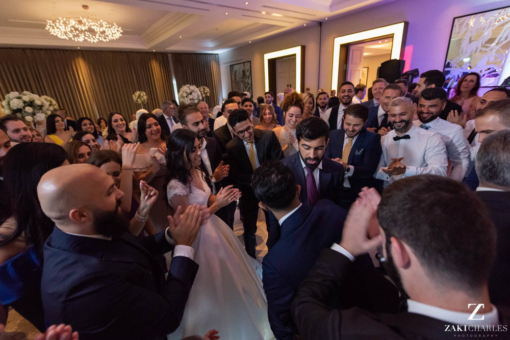 Guests dancing at Marriott Hotel Regents Park Wedding Venue 8