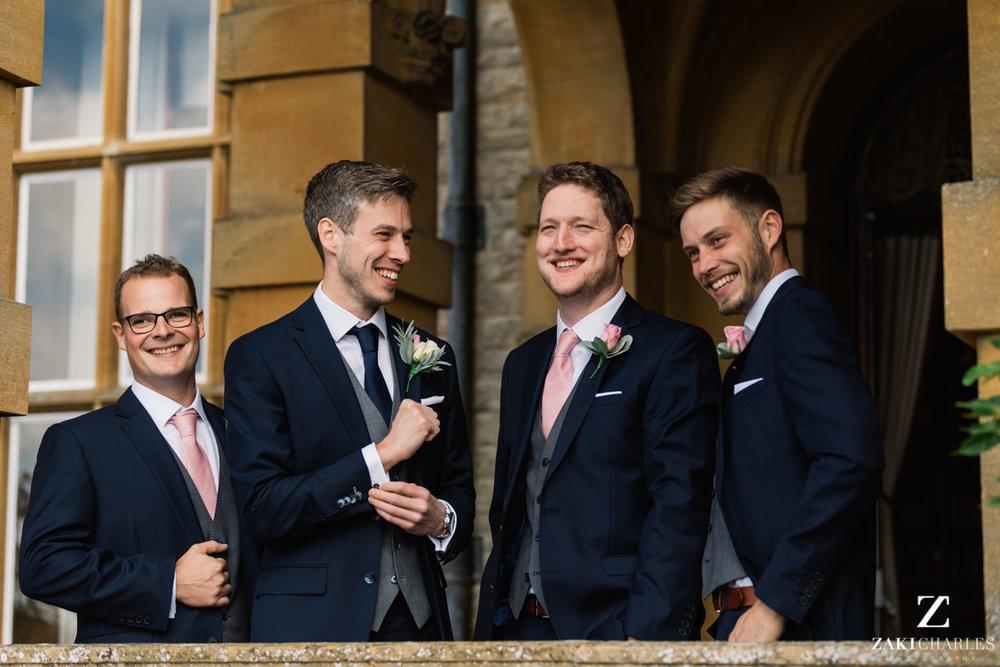Groomsmen and groom photo at Eynsham Hall 2