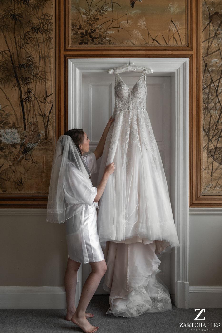 Bride Caroline and her dress, natural light portrait