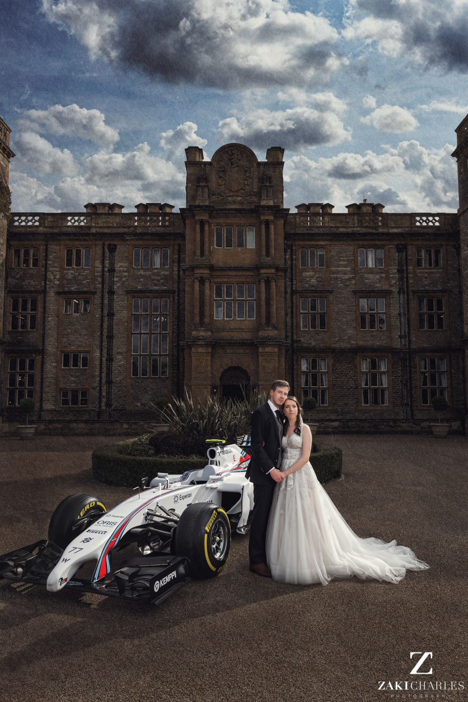 Zaki Charles Photography bride and groom with wedding car