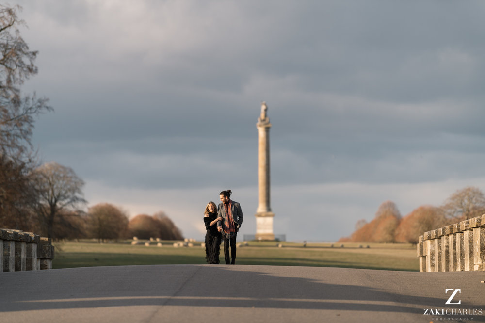 Blenheim Palace Engagement Session, AJ and Yannis walking, natural light
