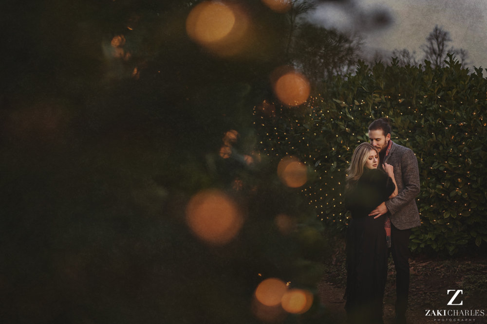 Blenheim Palace Engagement Session, AJ & Yannis, with Christmas lights