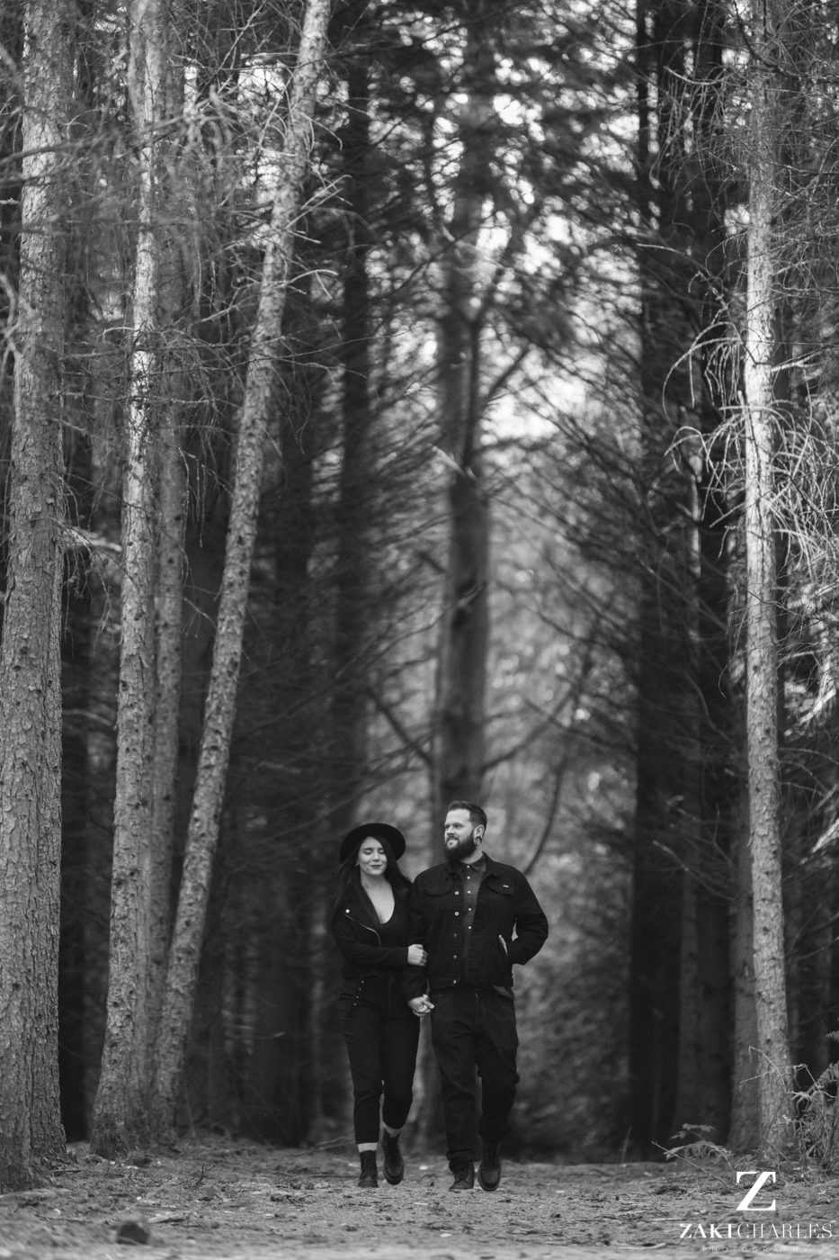 Black Park Engagement Session, Kirsty & Alex black and white 4