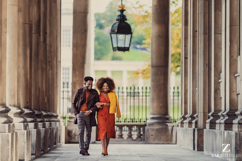 London City Engagement Session, Sam and Jude walking