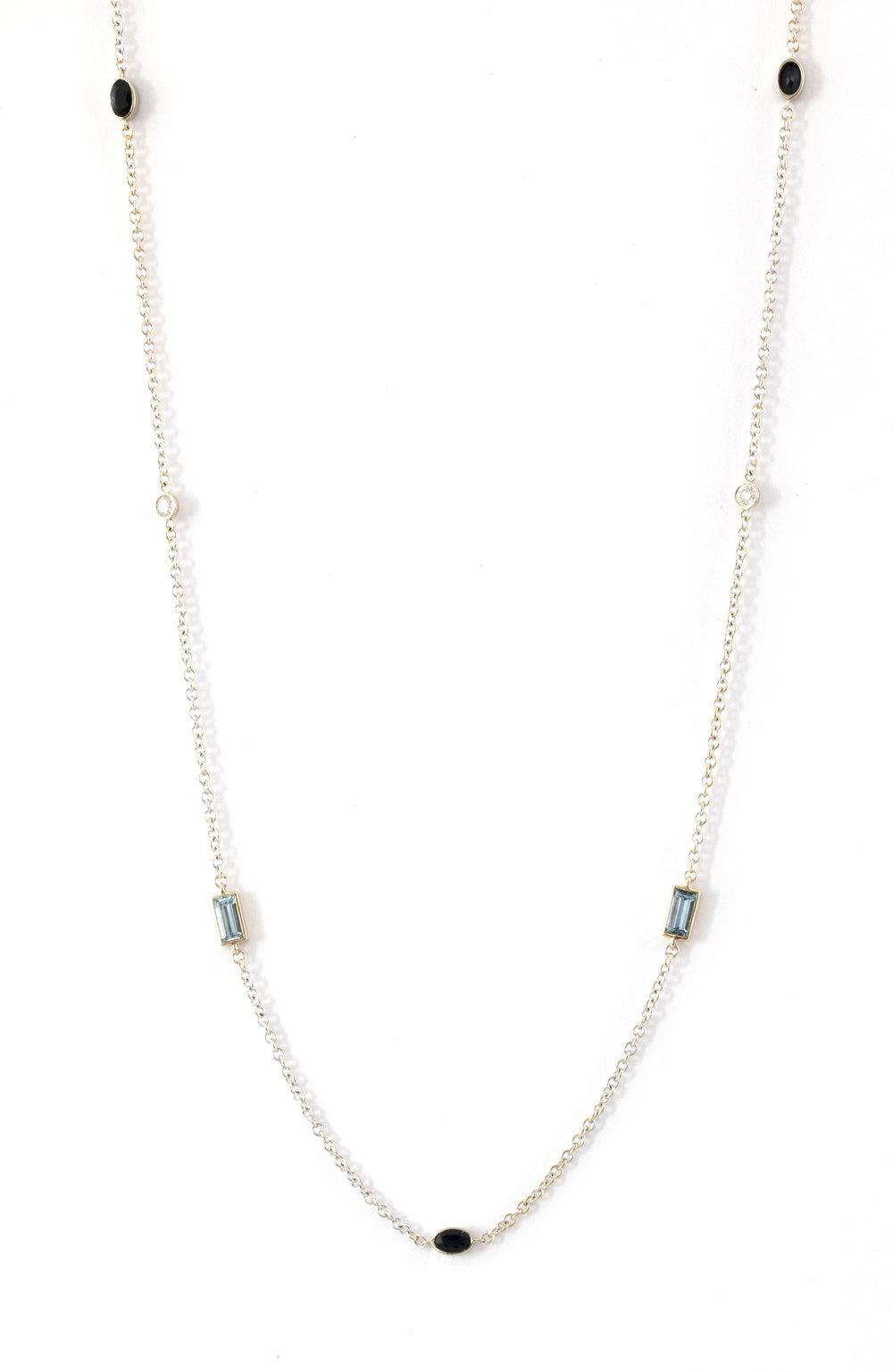 Aquamarine & Blue Sapphire Necklace