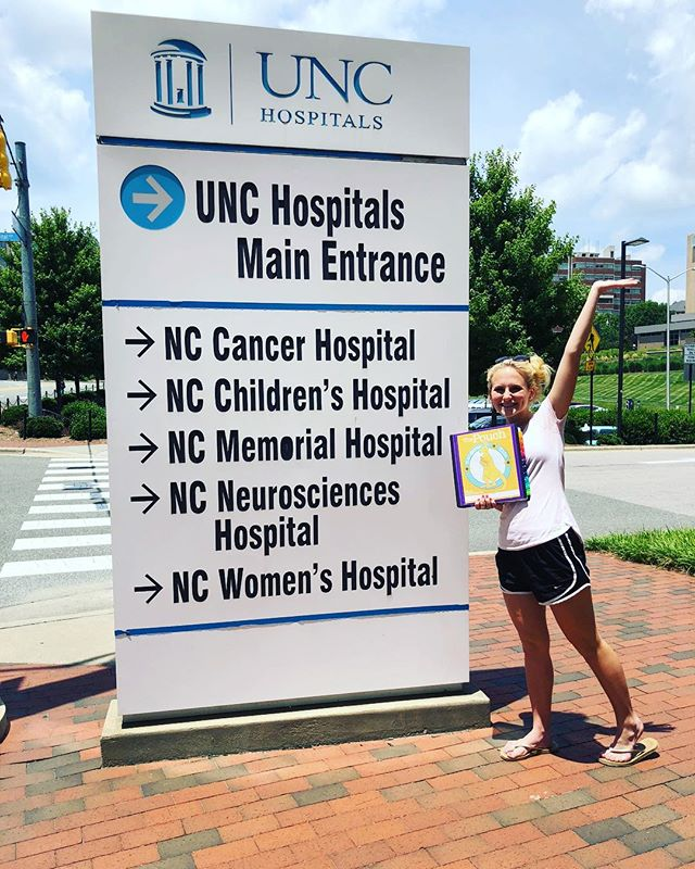 """Dropping off pouches to one of our FAVORITE partners, UNC Genetics!!! Love helping the little """"roo's"""" here in Raleigh! #kangarookids #thepouch #uncchildrenshospital #genetics #helpingothers #givingback"""