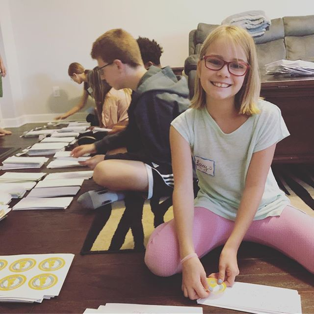 A big thank you is well deserved for all the hard work these families did yesterday!! 👏🏻Hurricane or no hurricane, these families were determining to help us get a head start on our direct mail. 💖We worked together for 6.5 hours and got all of the prep work done for our FIRST official mailing! 🙌🏻🙌🏻🙌🏻 We never could have done it with our them! 🎉💜