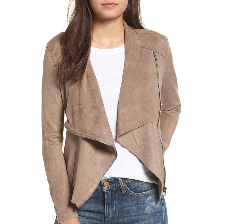 Drape Faux Suede Jacket - BLANKNYC