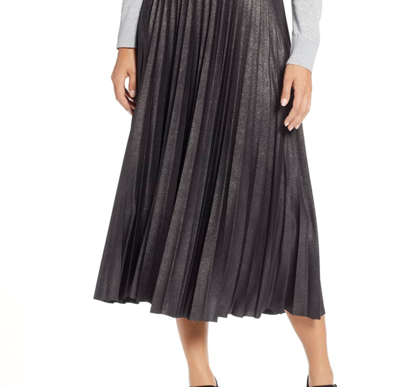 Metallic Pleat Midi Skirt - HALOGEN